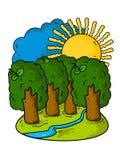 Beautiful summer cartoon landscape. Trees, sun, sky, blue river and green grass. stock illustration