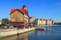 Beautiful summer city landscape, sight of Kaliningrad Fish village. Royalty Free Stock Photo