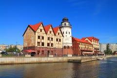 Beautiful summer city landscape, sight of Kaliningrad Fish village. Royalty Free Stock Photography