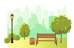 Beautiful summer city park with green trees bench, lantern and walkway stock illustration