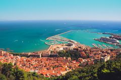 Beautiful summer city view and seascape from Arechi castle. Salerno, Italy. Beautiful summer city view and colorful eye catching seascape on sunny day from Stock Image
