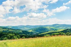 Beautiful summer countryside in mountains. Wonderful sunny day scenery. grassy rural fields and meadows with wild herbs. hills and mountains in the distance stock photography