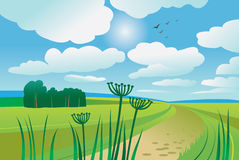 Beautiful summer day. Lanscape illustration Royalty Free Stock Photos