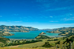 Beautiful summer day view into the Akaroa Harbour Stock Images