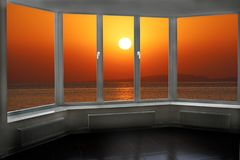 Free Beautiful Summer Decline Above Ocean Seen From Window Royalty Free Stock Images - 159868409