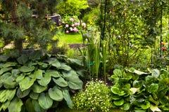 Beautiful summer designed garden Stock Photo
