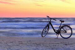 Beautiful summer evening.Bicycle by the Baltic sea