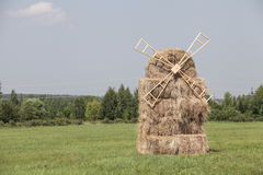 Beautiful summer farm landscapes with haystack Royalty Free Stock Photo