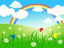 Beautiful summer field landscape. Beautiful summer field landscape with rainbow Royalty Free Stock Photography