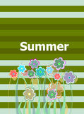 Beautiful summer floral invitation card. summer holiday, flowers and abstract lines set Stock Image