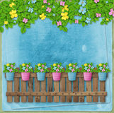 Beautiful summer flowers in pots on  fence Stock Images