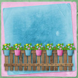 Beautiful summer flowers in pots on  fence Stock Photography