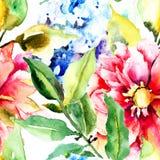 Beautiful Summer flowers, seamless pattern Royalty Free Stock Photo