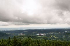 Beautiful summer forest view from Pajndl lookout tower, Krusne Hory. Beautiful summer forest view from Pajndl lookout tower cloudy sky copy space, Tisovsky Mount Stock Photography