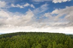 Beautiful summer forest view from Pajndl lookout tower, Krusne Hory. Beautiful summer forest view from Pajndl lookout tower cloudy sky copy space, Tisovsky Mount Stock Photo