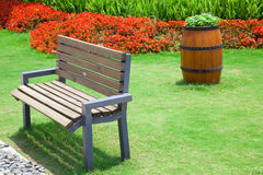 Beautiful summer garden with bench Stock Image