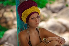 Beautiful summer girl in african turban Stock Photos