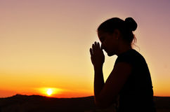 Beautiful summer Girl in prayer Royalty Free Stock Photography