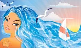 Beautiful Summer girl and sea. Stock Photos