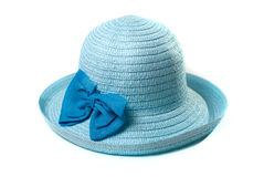 Beautiful summer hat of straw, isolated on a white background, Royalty Free Stock Photography