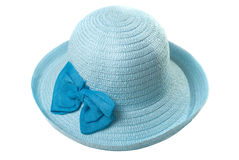 Beautiful summer hat of straw, isolated on a white background, Stock Images