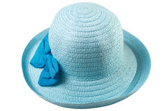 Beautiful summer hat of straw, isolated on a white background, Stock Photos