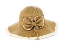 Beautiful summer hat  on white background. Royalty Free Stock Photography