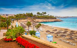 El Duque beach in summer holiday in Tenerife - Spain stock photography