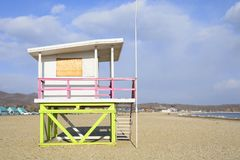 Beautiful summer house on the beach in winter Royalty Free Stock Photography