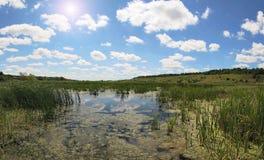 Beautiful summer landscape. Summer scenery with river. Belgorod Oblast. Russia Stock Photo