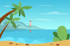 Beautiful summer landscape with a beacon on background. Lighthouse standing, coastline. Blue sea and sky with clouds above. Sand beach and palms. Vector vector illustration