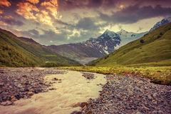 Beautiful summer landscape in the Caucasus mountains. Royalty Free Stock Photo