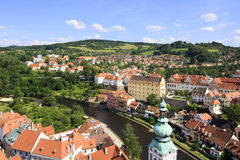 Beautiful summer landscape of Cesky Krumlov. Stock Photos