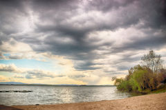 Beautiful summer landscape with cloudy sky and natural lake in Poland. HDR image Stock Photo