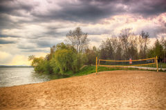 Beautiful summer landscape with cloudy sky and natural lake in Poland. HDR image Royalty Free Stock Photo