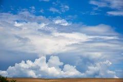 Beautiful summer landscape with cumulus clouds stock photo