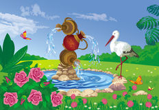 Beautiful summer landscape with a fountain and stork. Vector illustration of beautiful summer landscape with a fountain of the three jugs and the stork Stock Photos