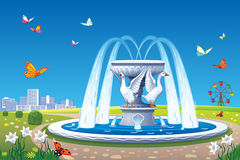 Beautiful summer landscape with a fountain. Vector summer landscape with a fountain with sculptures of geese and butterflies flying over the meadow Royalty Free Stock Image
