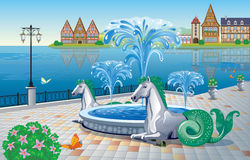 Beautiful summer landscape with a fountain on the waterfront and. Beautiful  summer landscape with a fountain on the waterfront and sculptures of  mythological Royalty Free Stock Images
