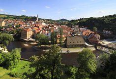 Beautiful summer landscape of historical center of Cesky Krumlov Stock Photography