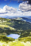Beautiful summer landscape with lake Calcescu in Parang  mountai Royalty Free Stock Photography