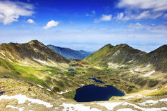 Beautiful summer landscape with lake from Fagaras mountains Stock Images