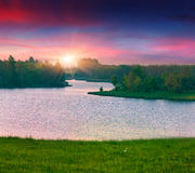 Beautiful summer landscape on the lake. Stock Images