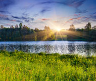Beautiful summer landscape on the lake. Royalty Free Stock Photography