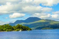 Beautiful summer landscape at Loch Lomond in Luss, Scotland, UK Royalty Free Stock Photos