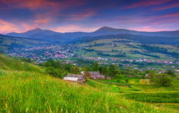 Beautiful summer landscape in the mountain village. Royalty Free Stock Images