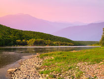 Beautiful summer landscape in the mountains with river. Royalty Free Stock Photo