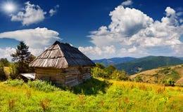 Beautiful summer landscape in mountains village Stock Photo