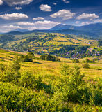 Beautiful summer landscape in mountains village Stock Image
