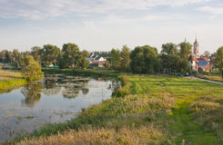 Beautiful summer landscape at a pond Royalty Free Stock Photos